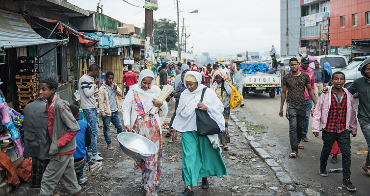 A street in Addis Ababa. The newly created jobs in the textile industry have given many women a secure income for the first time.