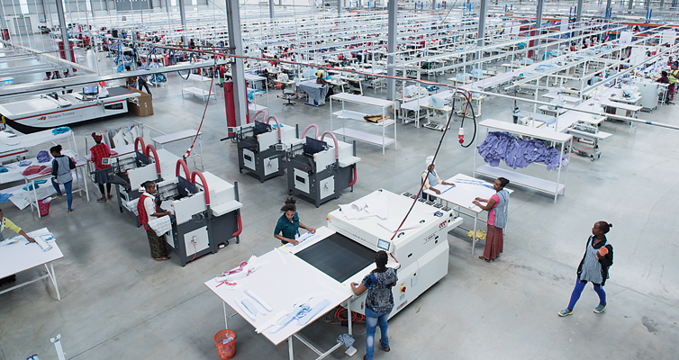This factory employs 2,000 people and makes shirts and jeans for an American fashion chain.