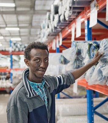Jemal Shiferan is responsible for a large warehouse full of textiles, yarns and buttons. The young engineer says much of what he learned during his GIZ training is proving invaluable in his work in the factory: 'I'm a lot more confident,' says the 26-year-old.