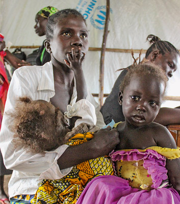 Refugees from South Sudan in a reception camp on the Ugandan border