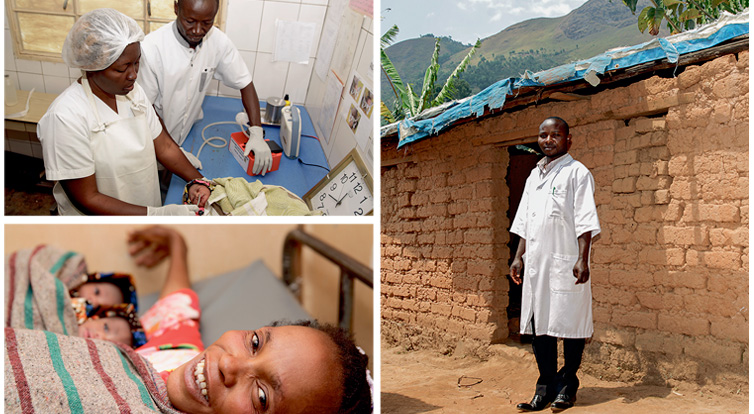 Top left: A baby receiving care at the neonatal unit in Nyangezi hospital. Below: Glowing mother of twins.  Right: Kandanda Namuho in front of the makeshift mud hut previously used to treat people from Kasihe and the surrounding area.