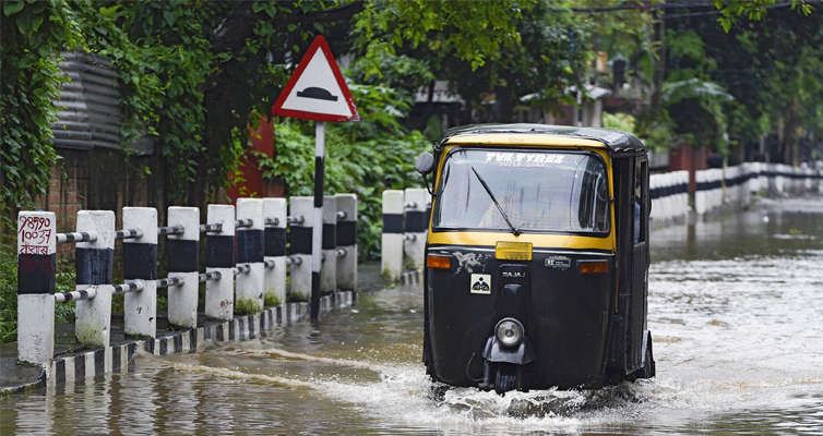 The roads of the Indian city regularly flood following rainfall.