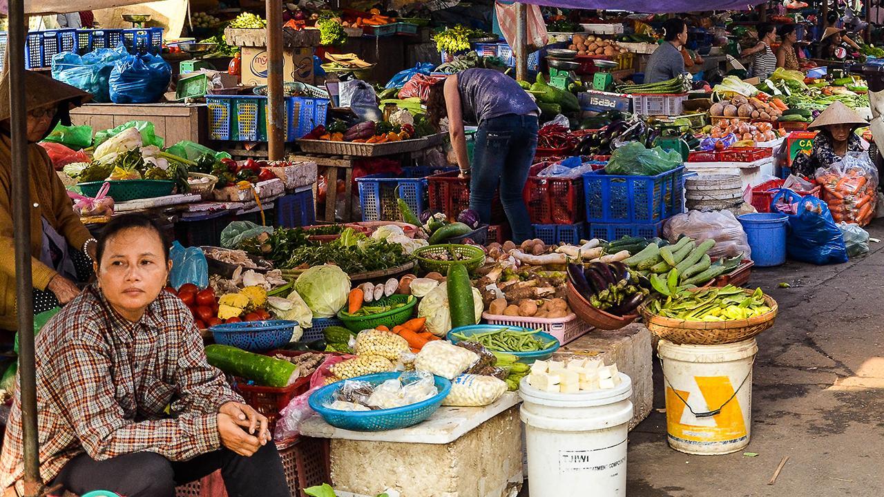 Hội An, Vietnam: Obwohl es immer mehr Menschen in die Stadt zieht, sind sie für die Ernährung auf ihre ländliche Umgebung angewiesen. Diese wiederum profitiert von verbesserten Wertschöpfungsketten. Damit sich beide Seiten nachhaltig weiterentwickeln, ist eine gute Stadt-Land-Verbindung wichtig.<br />© Lennard Kehl