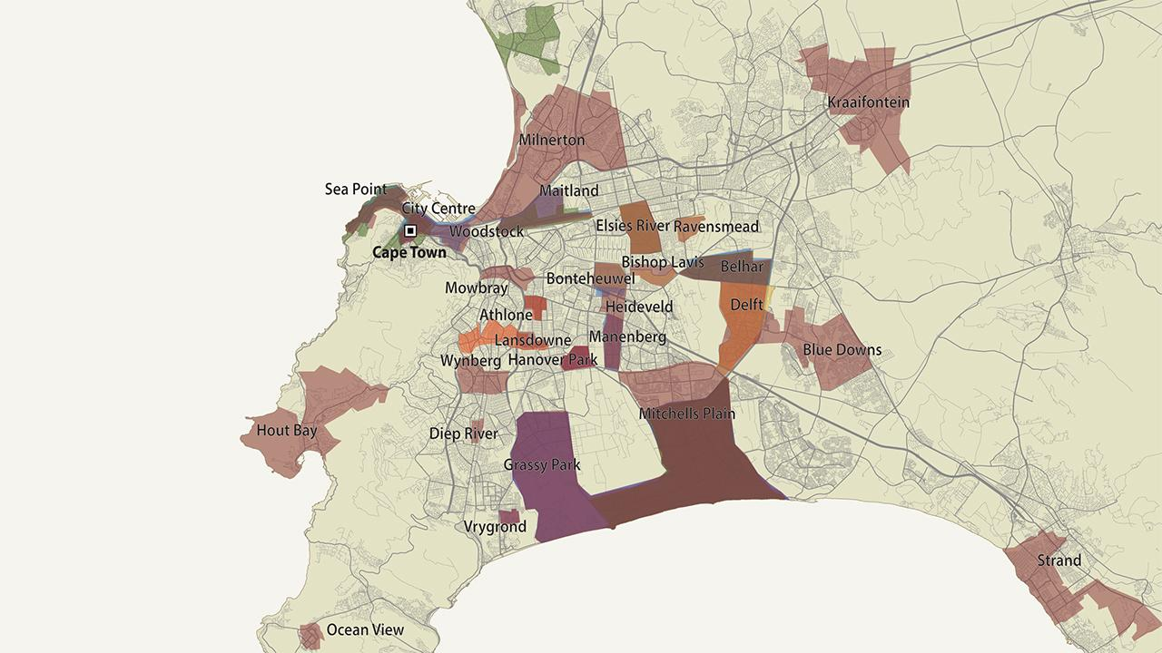 The map shows the areas claimed by the six largest gangs in Cape Town. In some parts of the city, more than 30 rival gangs vie for territory, and murder, violence and drugs are rife. <em>Photo:©GIZ/GI</em>