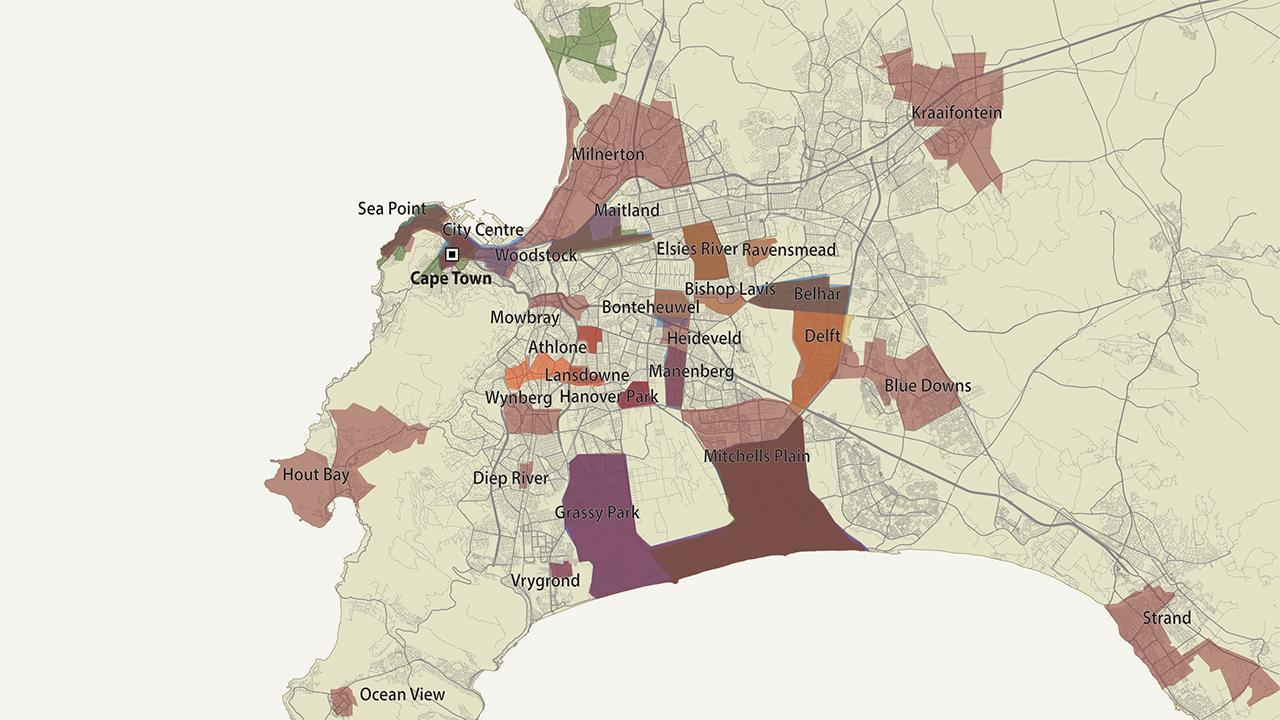Die Karte zeigt die Gebiete, die von den sechs größten Banden in Kapstadt beansprucht werden. In einigen Teilen kämpfen über 30 Banden um ihr Territorium. Mord, Drogen und Gewalt sind an der Tagesordnung. <em>Foto:©GIZ/GI</em>